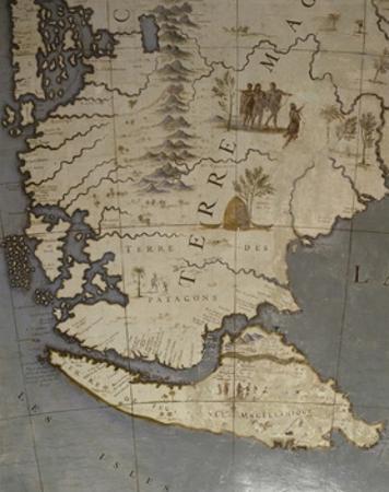 Terrestrial Globe, Detail of Tierra Del Fuego, 1683