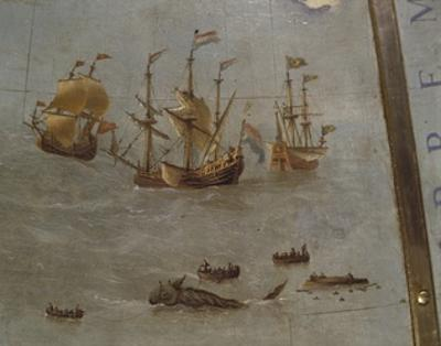 Terrestrial Globe, Detail: Whale Fishing, 1683