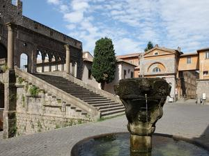 Fountain and Terrace of the Pope's Palace in Viterbo, Lazio, Italy, Europe by Vincenzo Lombardo