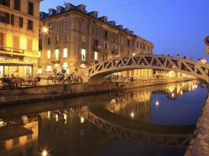 Naviglio Grande at Dusk, Milan, Lombardy, Italy, Europe by Vincenzo Lombardo