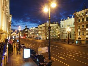 Nevsky Prospekt at Night, St. Petersurg, Russia, Europe by Vincenzo Lombardo