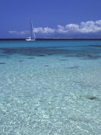 Sea and Sailing Boat, Formentera, Balearic Islands, Spain, Mediterranean, Europe