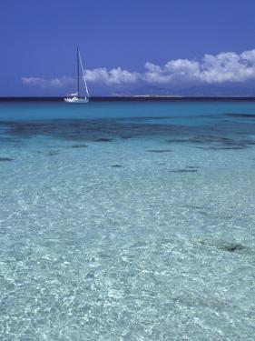 Sea and Sailing Boat, Formentera, Balearic Islands, Spain, Mediterranean, Europe by Vincenzo Lombardo