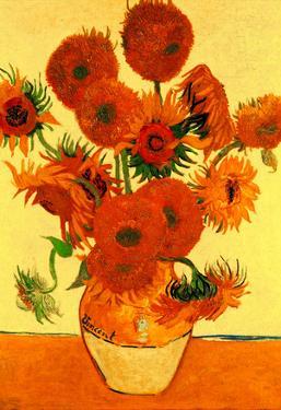 Vincnet Van Gogh Still Life Vase with Fifteen Sunflowers 5 Art Print Poster