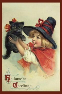 Little Witch and Halloween Kitty by Vintage Apple Collection