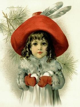 Xmas Girl with Snowballs by Vintage Apple Collection
