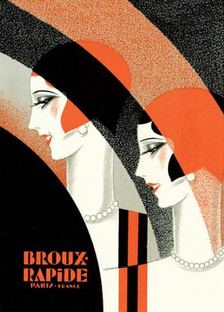 Vintage Art Deco Label, Broux Rapide, Paris