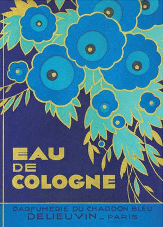 Vintage Art Deco Label, Eau de Cologne du Chardon Bleu