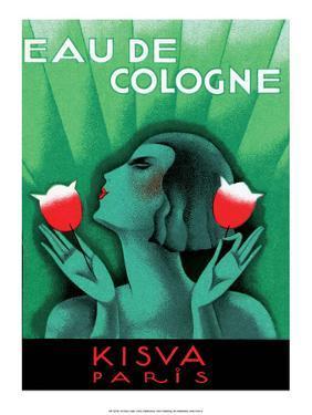 Vintage Art Deco Label, Eau de Cologne, Kaisva, Paris
