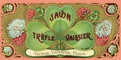 Vintage Art Deco Label, Savon Trefle Vaissier