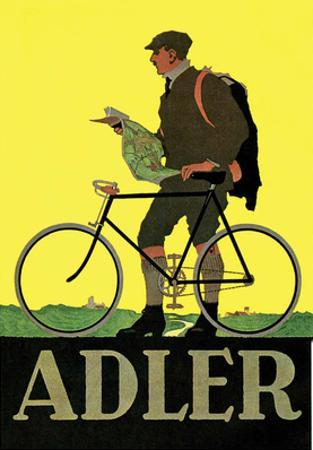Vintage Bicycle Poster, Adler