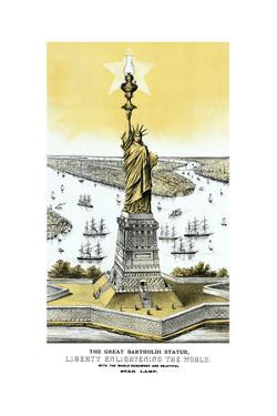 Vintage Color Architecture Print Featuring the Statue of Liberty