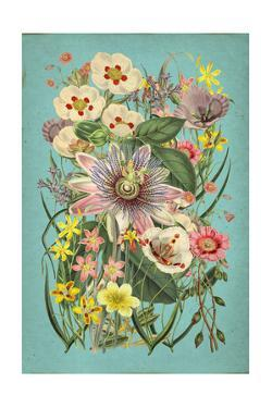 Vintage Flowers on Teal