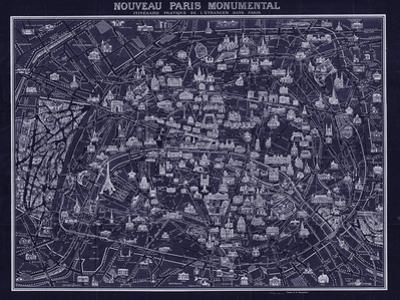 1920 Pocket Map of Paris Blueprint style by Vintage Lavoie
