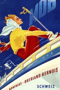 1940s Swiss Rail Ski Travel poster by Vintage Lavoie