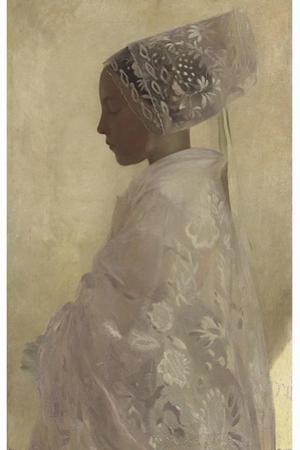 A Maiden in Contemplation, Gaston La Tour, 1893 by Vintage Lavoie