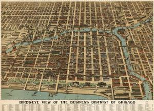 Birds Eye Chicago biz district-1898 by Vintage Lavoie