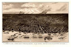 Birds Eye View Of Detroit Michigan 1889 by Vintage Lavoie