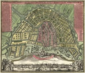 Homann Erben's Accurate Map of Amsterdam 1727 by Vintage Lavoie