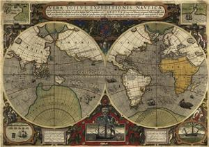 Hondius map of the World 1595 by Vintage Lavoie