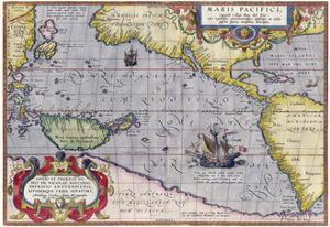 Italian Map Of The Pacific Ocean1589 by Vintage Lavoie