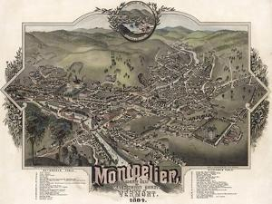 Map Of Montpelier Vt With Reference Table 1884 by Vintage Lavoie