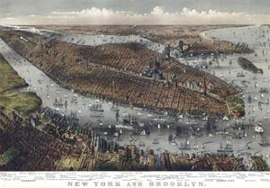 Map Of New York And Brooklyn 1875 by Vintage Lavoie