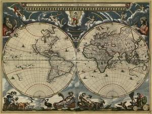 Map of the World by Blaeu 1684 by Vintage Lavoie