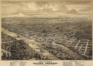 Salem Oregon 1876 Birds Eye View by Vintage Lavoie