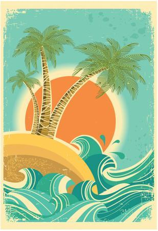 Vintage Nature Sea With Waves And Sun