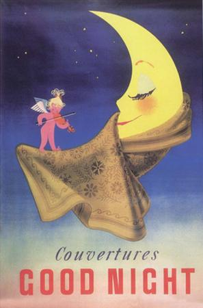 Vintage Poster Advertising Blankets, Sleepy Moon