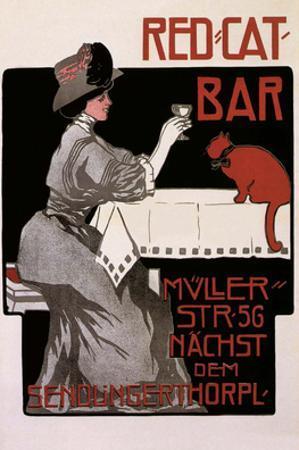 Vintage Poster Advertising Red Cat Bar