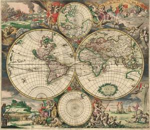 World Map 1689 by Vintage Reproduction