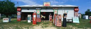 Vintage Signs on Garage, Texas, USA