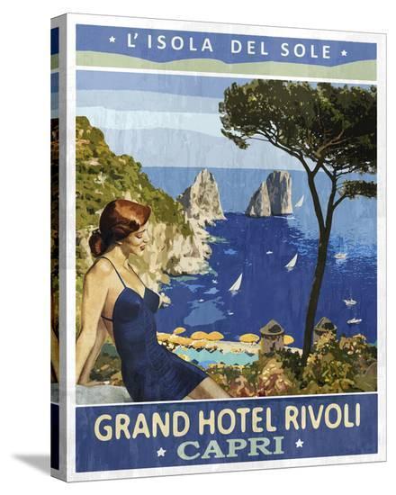Vintage Travel Capri-The Portmanteau Collection-Stretched Canvas Print