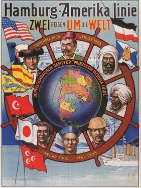 Vintage Travel Poster for Hamburg-America Line