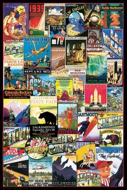 Vintage US Travel Ads Collage