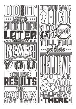 Motivational Set White by Vintage Vector Studio