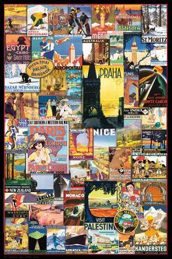 Vintage World Travel Ads Collage