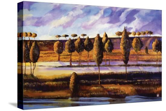 Violet Sky over Land and Water-Judith D'Agostino-Stretched Canvas
