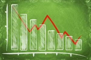 Declining Bar Chart Drawn on a Green Chalkboard by Viorel Sima
