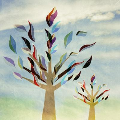 Family Trees with Colorful Leaves,, Vintage, Childhood by vipa21