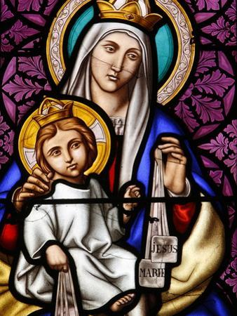 Virgin and Child on Mount Carmel, Stained Glass in Pont L'Abbe Church, Brittany, France