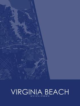 Virginia Beach, United States of America Blue Map