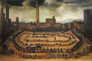 The Parade of the Contrade in Piazza Del Campo in Siena by Virginio Livraghi