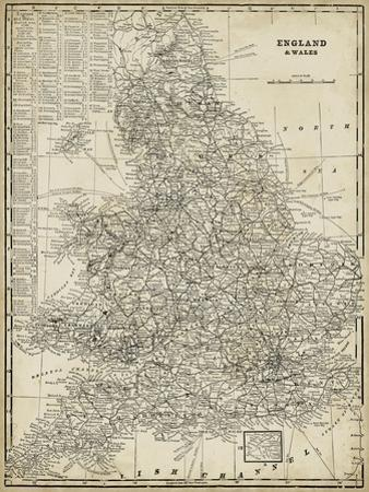 Antique Map of England by Vision Studio