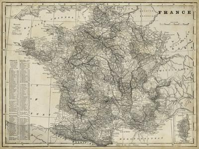 Antique Map of France by Vision Studio