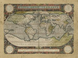 Embellished Antique World Map by Vision Studio