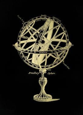 Gold Foil Armillary Sphere I on Black by Vision Studio