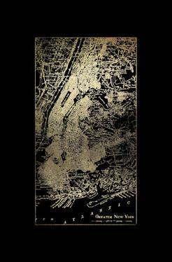 Gold Foil City Map New York on Black by Vision Studio